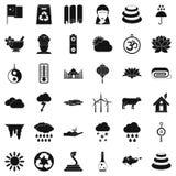 Kraj w Asia ikonach ustawia, prosty styl Obrazy Royalty Free
