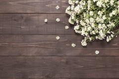 Krajaczy kwiaty są na drewnianym dla twój teksta Obrazy Stock