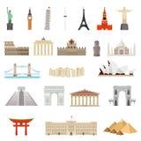 Kraje świat architektury, zabytku lub punktu zwrotnego ikona, ilustracja wektor
