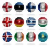 Kraje europejscy (Od E, K) zaznaczają piłki Zdjęcie Stock