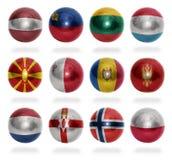 Kraje europejscy (Od L, P) zaznaczają piłki Fotografia Stock