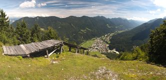 Krajnska Gora from hillside of Vitranc mountain in Julian Alps Stock Image