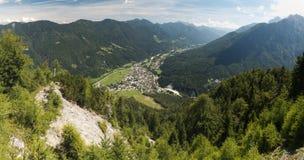 Krajnska Gora from hillside of Vitranc mountain in Julian Alps Royalty Free Stock Image