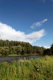 Krajobraz łąka niebieskie niebo i rzeka, Obraz Stock