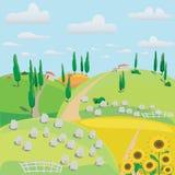 Krajobraz łąki, barani i zbierający uprawę ilustracji