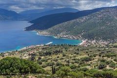 Krajobraz Agia Effimia miasteczko, Kefalonia, Ionian wyspy, Grecja Obrazy Stock