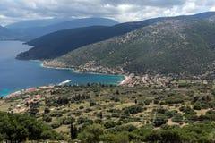 Krajobraz Agia Effimia miasteczko, Kefalonia, Ionian wyspy, Grecja Obrazy Royalty Free