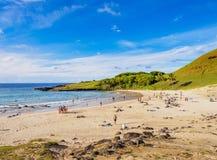 Krajobraz Anakena na Wielkanocnej wyspie, Chile Fotografia Royalty Free