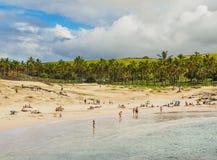 Krajobraz Anakena na Wielkanocnej wyspie, Chile Zdjęcia Royalty Free