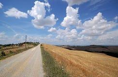 Krajobraz asciano wzgórza z drogą gruntową obrazy royalty free
