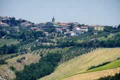 Krajobraz blisko Ascoli Piceno przy latem Fotografia Stock