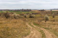 Krajobraz blisko Mishurin Rog wioski w środkowym Ukraina Zdjęcie Stock