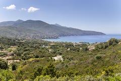 Krajobraz blisko Procchio, północny wybrzeże, Elba, Tuscany, Włochy fotografia stock