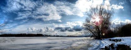 Krajobraz - chmura & staw w republika czech Obrazy Royalty Free