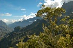 Krajobraz Cirque Cilaos na losu angeles spotkania wyspie Zdjęcie Royalty Free