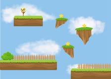 Krajobraz dla gry Tło dla gry Bezszwowy kreskówka krajobraz bez końca tło Zdjęcie Stock