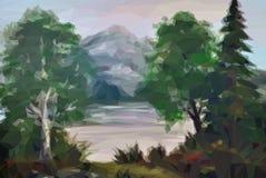 Krajobraz, drzewa i jezioro, Zdjęcia Stock