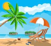 Krajobraz drzewko palmowe na plaży Zdjęcia Royalty Free