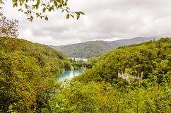 Krajobraz dwa i góry przy Plitvice jezior parkiem ake Obrazy Royalty Free