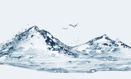 Krajobraz, góry i ptaki, Obraz Royalty Free