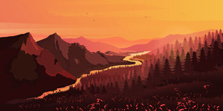 Krajobraz Góry, unosić się lub obsiadanie puszka słońce, wektor Obraz Stock