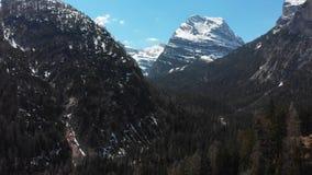 Krajobraz góry z śnieżnymi szczytami i zielonym zwartym lasem - dolomity, Włochy zdjęcie wideo