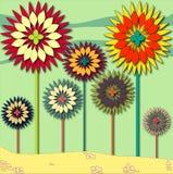 Krajobraz gruntowi kwiatów drzewa ilustracji