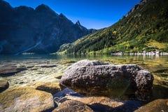Krajobraz halny jeziorny Morskie Oko blisko Zakopane, Tatrzański Moun Zdjęcia Stock