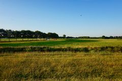 Krajobraz Holenderska trawiasta ziemia uprawna przy półmrokiem zdjęcie stock