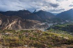 Krajobraz Hunza dolina w wiosna sezonie, Gilgit Baltistan, nie Zdjęcie Royalty Free
