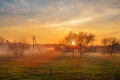 Krajobraz jesień i mgłowy wsi greenfield z wioską na tle przy zmierzchem obraz royalty free