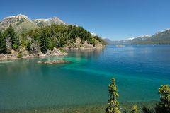 Krajobraz jeziora wokoło Bariloche, Patagonia, Argentyna obraz royalty free