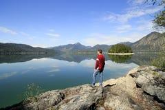 Krajobraz jeziorem Obrazy Royalty Free