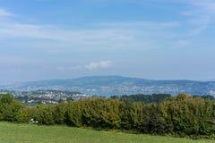 Krajobraz jeziorny Zurich w lecie z drzewną linią wycieczkuje śladu Switzerland turystyki podróży miejsca przeznaczenia natury pa Obraz Stock