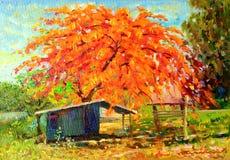 Krajobraz kolorowy pawiego kwiatu emocja w czerwieni i drzewo ilustracja wektor