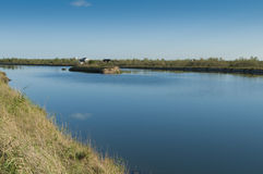 Krajobraz laguna przy Po delty rzecznym parkiem narodowym, Ita Zdjęcia Stock