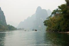 Krajobraz Li rzeka w zimie, Guilin, Chiny Zdjęcie Royalty Free