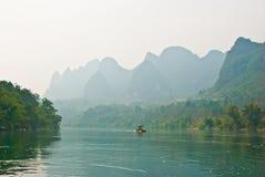 Krajobraz Li rzeka w zimie, Guilin, Chiny Obraz Stock