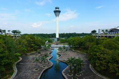 Krajobraz lotniskowa wieża kontrolna fotografia royalty free