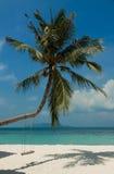 Krajobraz mała tropikalna wyspa, biel plaża z ładną huśtawką i perfect niebo, Fotografia Stock