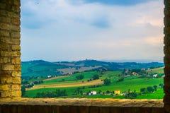 Krajobraz Marche wieś w Corinaldo obraz stock
