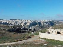 Krajobraz Matera miasta sud Włochy sławny miasto z sassi Matera zdjęcie stock