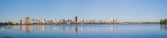 Krajobraz Minsk miasto, woda, niebo fotografia royalty free