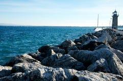 Krajobraz molo w Desenzano, Garda jezioro Zdjęcia Stock