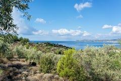 Krajobraz morze na Thassos wyspie, Wschodnim Macedonia i Thrace, Grecja Zdjęcia Royalty Free