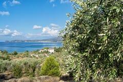 Krajobraz morze na Thassos wyspie, Wschodnim Macedonia i Thrace, Grecja Obrazy Stock