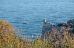 Krajobraz na Czarnym dennym wybrzeżu w Crimea w Yalta Zdjęcie Stock