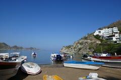 Krajobraz - natury tradycyjna łódź scena zdjęcia royalty free