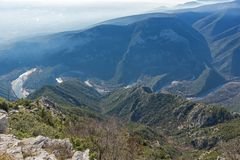 Krajobraz Nestos Rzeczny wąwóz blisko miasteczka Xanthi, Wschodni Macedonia i Thrace, Grecja Obrazy Royalty Free