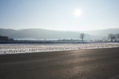 Krajobraz niebo i drzewa śnieg i droga Zdjęcie Stock